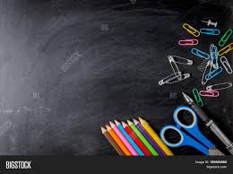 School Chalkboard Background School Supplies Side Image Photo Free Trial Bigstock