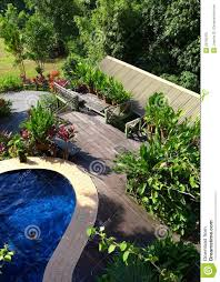 Landscape Deck And Patio Designer Wood Patio Pool Layout With Landscaping Stock Image