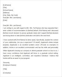 law schools letter of recommendation samples letter of recommendation for graduate school from a