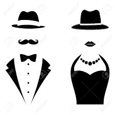 紳士と女性のシンボル男と女の頭のシルエット