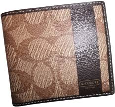 Coach Men s Heritage Khaki Brown Leather Double Billfold Wallet 74512.  Includes a Coach Gift Box. Size  large.