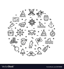 Pirate Signs Round Design Template Thin Line Icon