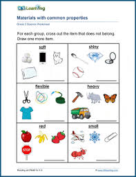 Compare materials and their properties science worksheet for kids. Materials With Common Properties Worksheets K5 Learning