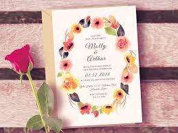 Watercolor Floral Wedding Invitation Template Free Psd