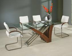 modern round glass dining room table with espresso wooden legs contemporary modern glass dining room