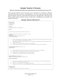 Cover Letter Resume Sample For Teaching Job Sample Resume For