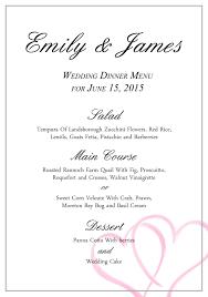 a wedding menu template