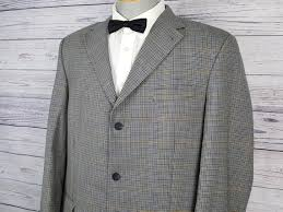 Vintage 90s Wool Tommy Hilfiger 44t Blazer Windowpane Houndstooth Mens Sport Coat Union Made In Canada Suit Jacket Office Business Wedding