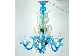 venetian handblown six arms turquoise with gold flecks chandelier