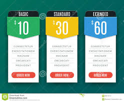 Web Banner Design Price Comparison Price Chart Table Pricing Plan Vector Template