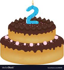 2 Years Old Birthday Cake Royalty Free Vector Image