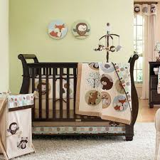 cream forest jungle themed bedding sets white wool rug cream fabric baby clothes hamper brown