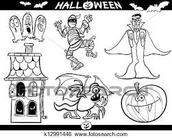 cartoon ilration of themes vire or count dracula mummy haunted house basilisk or monster pumpkin and ghosts set for coloring book or