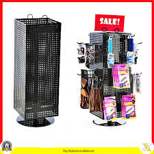 Carousel Display Stand Gorgeous Black Metal Pegboard Hooks Rotating Accessory Counter Display Stand