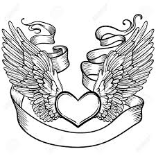 Line Art Illustration Of Angel Wings Heart Tape Vintage Print For St Valentines Day Sketch For Tattoo Hipster T Shirt Design Vintage Style