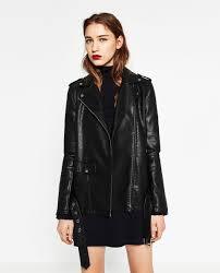 leather effect long jacket zara 99 90