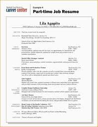 College Student Resume For Part Time Job Template S