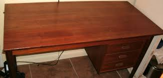 back porch west virginia mountain mama late 1960s cherry wood desk with damages top