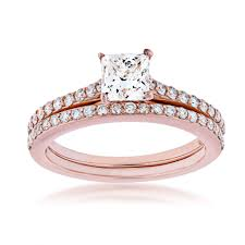 Engagement Rings Elegant Designs Noventa 1 1 2 Ct Tw Classic Princess Cut Diamond Wedding Set In 14k Pink Gold Bs1406w4wrd 14kp Nov