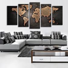Wall Art Sets For Living Room 5 Pcs Set Modern Abstract Wall Art Painting World Map Canvas