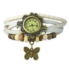 vintage weave wrap white leather wings women bangle bracelet vintage watch