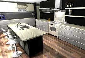Kitchen 3d Kitchen Design Ideas Wood Floor With Black Wall 3d