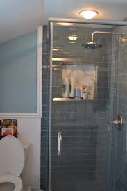 shower remodel glass tiles. Beautiful Shower Interior Bathroom Guest Shower Remodel With Ocean Glass Subway Tile Wall  Panel Plus Partition And Chrome In Tiles M