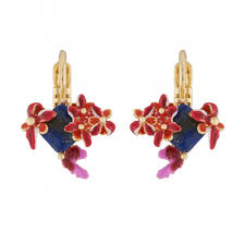 Coral And Exotic Flowers On <b>Natural Stone</b> Dormeuses <b>Earrings</b> ...
