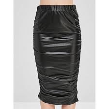 cinched faux leather pencil skirt black