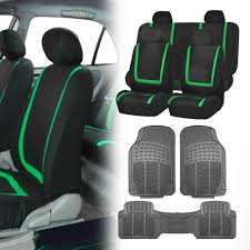 BESTFH Rakuten Black Green Car Seat Covers with Gray Rubber Floor