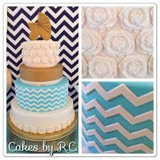 Popular Chevron Baby Shower Blue Personalized Invitation Cake Idea