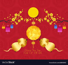 Oriental chinese new year 2020 rat background Vector Image