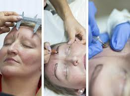 glasgow scotland semi permanent eyebrow makeup is tattooed on cancer patient lesley s head image