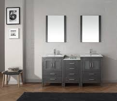Nice Looking Grey Polished Ikea Bathroom Vanity Double Sink Added Wall  Mount Square Mirror Hang On White Wall Painted In Midcentury Bathroom  Decorating ...