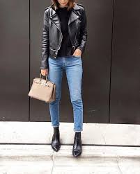 leather jacket blue skinny jeans pointed chelsea boots acne studios jensen