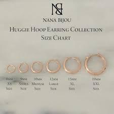 Huggie Hoop Earrings Size Chart 14k Gold Black Rhodium Plated Huggie Hoop Earrings