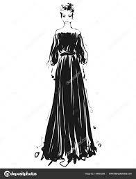 красивая молодая девушка для дизайна мода модель эскиз чертеж