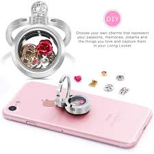 desberry silver living memory floating round locket pendant necklace phone ring stand keychain locket could put floating charms