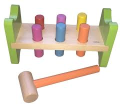 details about hammering bench with pegs and hammer wooden educational classic preschool toy