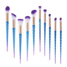 rainbow unicorn spiral makeup brush set 10pc