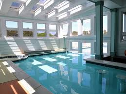 Swimming Pool:Admirable Mediterranean Style Indoor Swimming Pool Design  Complete With Square Benches Also Round