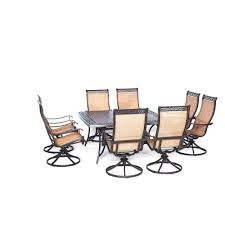 Hanover Manor 9-Piece Square Patio Dining Set with Eight Swivel ...