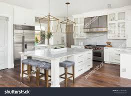 Pendant Lights In White Kitchen Beautiful White Kitchen New Luxury Home Stock Photo Edit