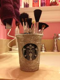 diy makeup brush holder i love it so much all you have to do is get a starbucks cup paint it sprinkle the glitter on let it dry and boom gorgeous makeup
