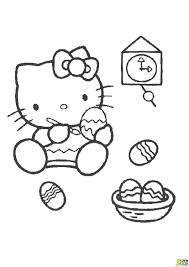 Coloriage Hello Kitty Peint Des Oeufs De P Ques Dans La