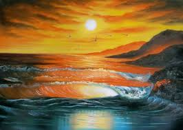 land sea nature oil painting 580 sunset beach tropical waves
