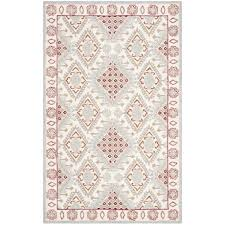 safavieh micro pile ivory and red area rug 5x8 wool in ivory