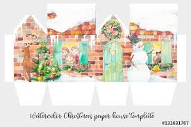 christmas house template watercolor christmas paper house template winter holiday