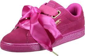 puma pink shoes. puma suede heart satin w shoes pink