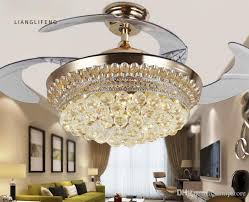 best modern led crystal invisible ceiling fans light 42inch remote control fan lights living room bedroom chandeliers ceiling light pendant lamps under
